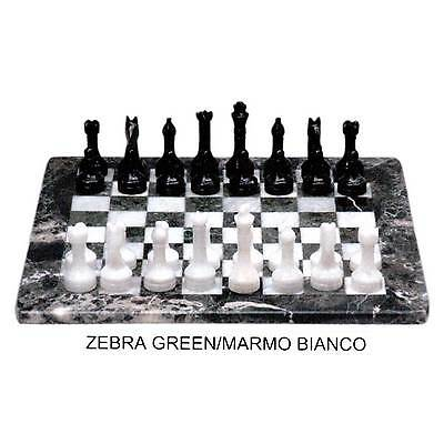 Chessboard with Chess white Marble and Zebra Green Marble Chess Set 30x30cm