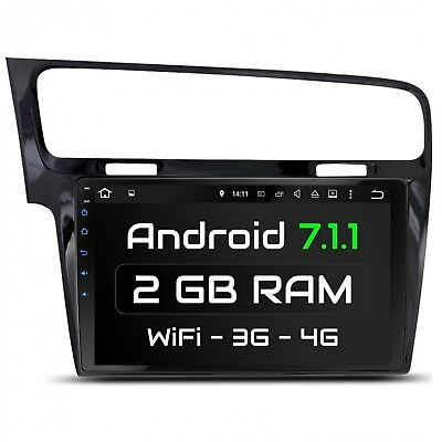 "10.1"" Autoradio Con Android 7.1 2Gb Ram Adatto Per Vw Golf 7 2013-2017 Wifi Navi"