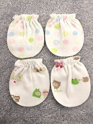 Baby Mittens 2 Pairs Newborn 100% Cotton Soft Touch Gloves UK Seller