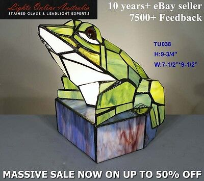 Tiffany Style Stained Glass Leadlight Frog Nouveau Table Lamp Night Light