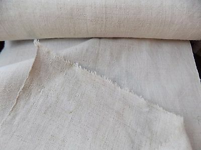 Antique Homespun Light Cream Flax Linen Fabric 0,46x8,2m 19thC Great condition