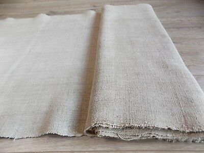 Antique Homespun Hemp Fabric Canvas Natural-gray 0,53x5,4m 19thC Great condition
