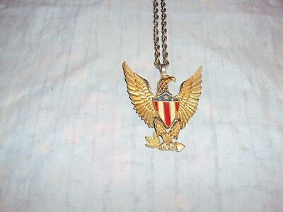 Vintage Enameled Articulated Patriotic American Eagle W/shield Pendant & Chain