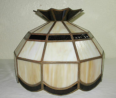 Vintage Mid Century Slag Stained Glass Hanging Ceiling Light Lamp