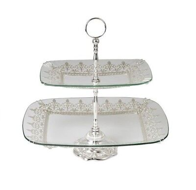 Silver Colour 2 Rectangle Glass Trays 39X29Cm And 28X18Cm Cake Stand High Tea