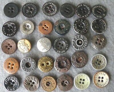 Lot 30 Antique Vintage Work Clothes Overall Buttons Metal Brass Steel Osh Kosh