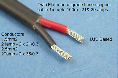 Marine Grade two 2 core cable 1.5mm 21A 2.5mm 29A amps tinned flat wire 12v 24V