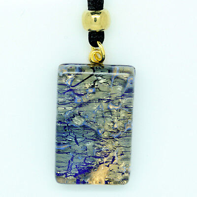 Blue and Gold Square Rectangular Murano Glass Venetian Pendant Necklace