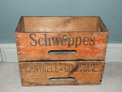 2 Vintage Cantrell & Cochrane & Schweppes Wooden Crates