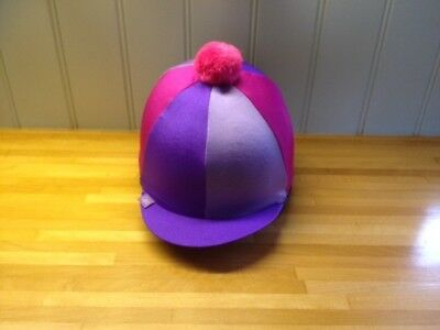 Skull cap silk Purple Pink and PomPom lovely item in excellent condition