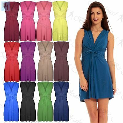 Ruched Drape Twist Knot Front Mini Dress Tie Belted Party Casual Summer Beach