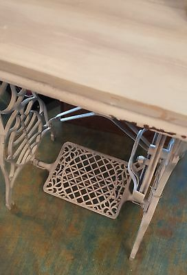 Antique cast iron sewing machine base with reclaimed barnwood top