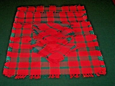 4 Christmas Placemats, Napkins, Green & Red Plaid, Excellent Condition