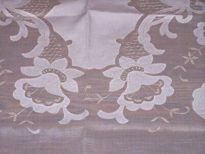 Exquisite Madeira Marghab Applique Tablecloth, 11 Napkins, Daffodil Pattern 1940