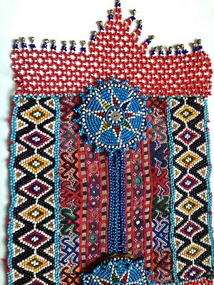 Antique Embroidered Beaded Pocket, Pakistan Traditional Costume, Decorative Art