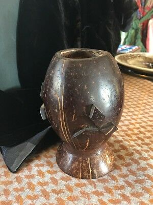 Antique Coconut Cup Rare 1900's Ceylonese Hand Carved From Galle Sri Lanka