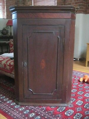 Antique Corner Cupboard With Marquetry Shell Cartouche