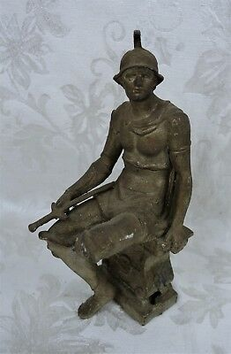 Antique 19th Century Figural Spelter Statue Clock Topper Seated Roman Soldier