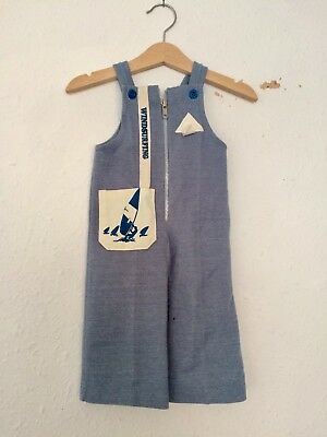 Vintage Kids Baby French NOS 60s 70s Deadstock Nautical Romper Dungarees 1 2 Y