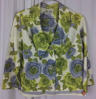 Mr Lee Jacket Vintage Mod Print Floral 3/4 Sleeve Blue Grean White