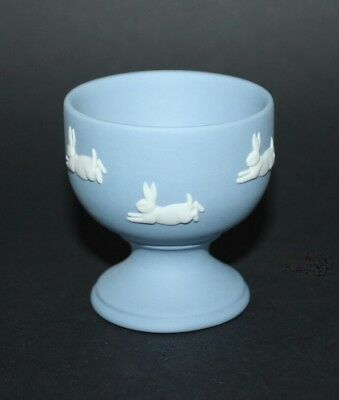 Rare Wedgwood White On Blue Jasper Beatrix Potter Peter Rabbit Footed Egg Cup