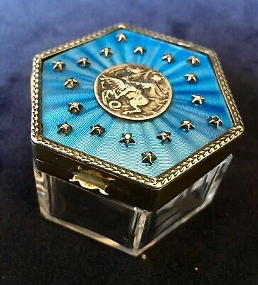 French Blue Guilloche Enamel & Silver Topped Glass Jar with St George Medallion