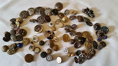 Antique Victorian Metal Picture Button Lot of 100- Small To Medium Sizes