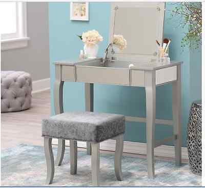 MIRRORED Vanity Table Console Desk Modern Contemporary Makeup ...