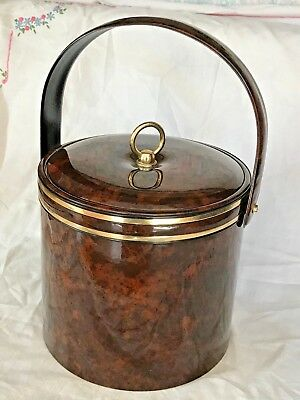 Vintage GEORGES BRIARD ICE BUCKET Tortoise Shell Faux Patent Gold Trim