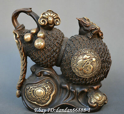 China fengshui old bronze gild carve golden toad gourd ruyi money wealth statue