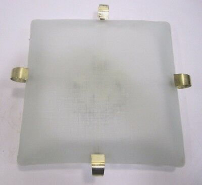 Vtg Large MCM Four Bulb Square Frosted Glass Brass Ceiling Light Fixture Lamp