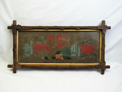 1800s Antique punchwork Embroidery in walnut frame God Bless Our Home
