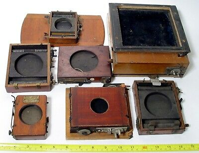 Antique Mahogany Plate Camera Roller Blind Shutter Job Lot | For Spares-Repair.