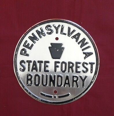 Vintage Pennsylvania State Forest  Boundary Line  Metal Sign NOS