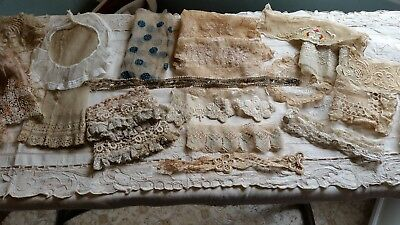 LOT of 20 Antique Delicate Net Lace Trims, Collars, Cuffs, and Dress Parts