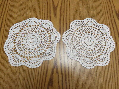 "Lot Of 2 Vintage Crochet Doilies - Cream - 9"" Diameter"