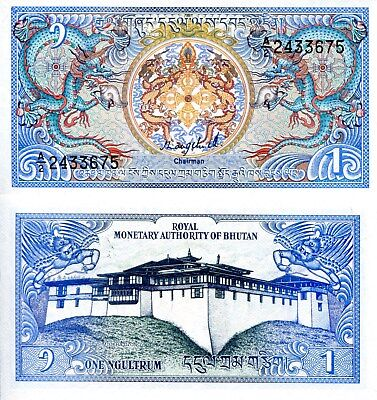 BHUTAN 1 Ngultrum Banknote World Paper Money UNC Currency Pick p12a 1986 Dragons