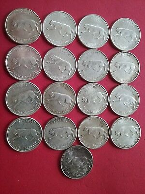 Lot of 17 ~ Canada ~ 1867-1967 Centennial ~ 25 Cents ~ Quarters ~ Silver Coins