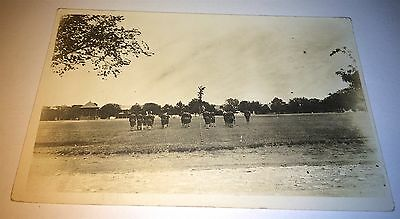 Antique Pre - WW1 RPPC Drilling Uniform Soldiers! Military Real Photo Postcard!