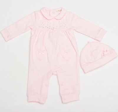 4786b3d80156 MINTINI BABY PINK Velour all in One With Diamanté detail Baby Girls ...