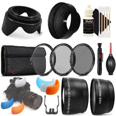 55mm Telephoto and Wide Angle Lens Bundle for Nikon D3400 , D5300 and D7200