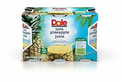 Dole 100% Juice, Pineapple, 6 Ounce Cans Pack of 48