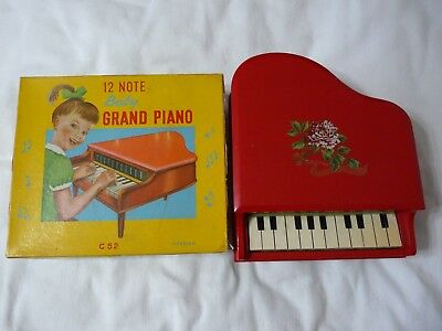 Vintage 1960s Wooden Children's Baby Grand Piano 12 Note with Original Box