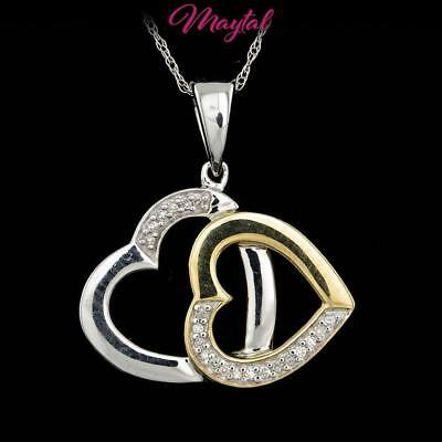 Maytal Jewelry Multi-Tone Gold Untreated Diamond Double Heart Pendant Necklace