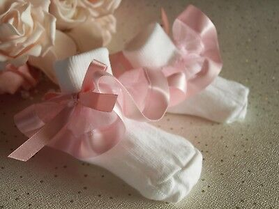 Baby Girls Reborn White Frilly Pink Satin Organza Christening Wedding Socks