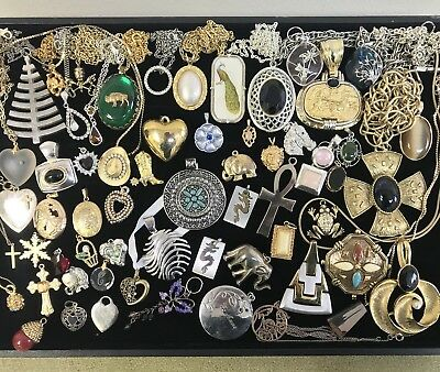 Huge Lot of 50+ Vintage Estate Jewelry Pendants, Necklaces, Charms, Some GF