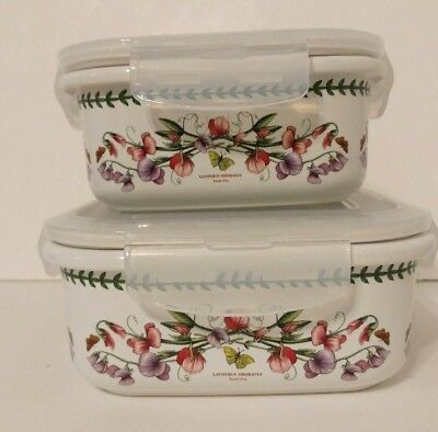Portmeirion Botanic Garden 2 square storage container air tight lock lid