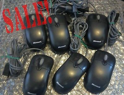 6x Optical Microsoft Basic v2.1 Mouse USB Wired  PC Laptop Black BLK