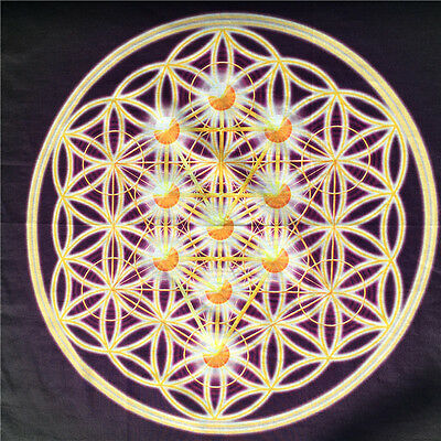 "Colorful Flower of life Crystal Grid Printed Altar Cloth  Reiki  18""x18"" 1PCS"