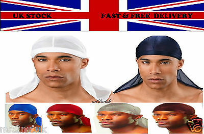 Luxury Du-Rag Tie Down Cap Bandana Head Scarf in Six Colour  UK Seller
